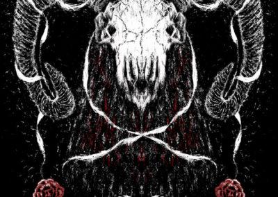 Ram skull and roses